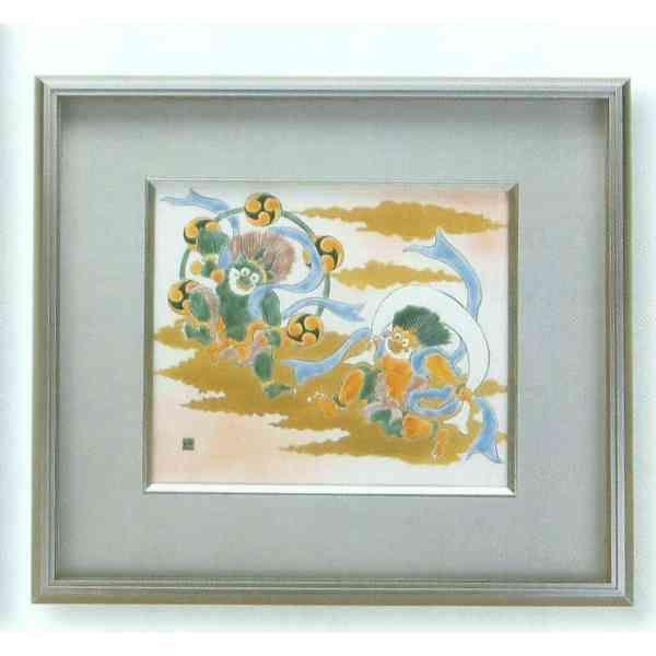 九谷焼 N92-05 陶額 アルミ額デラックスシリーズ 風神雷神 ガラス付 40.8×44cm