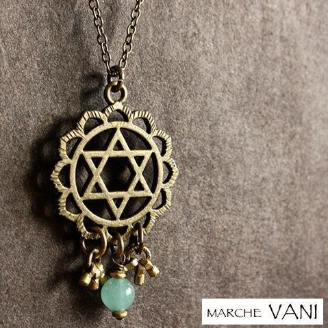 VANI ネックレス チャクラ anahata マラ ヨガ アクセサリー 天然石 ルドラクシャ 瞑想|psps