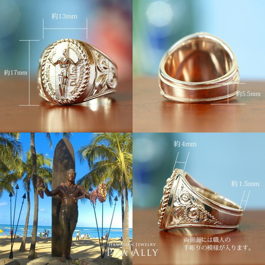 【K18 ハワイアン デュークカハナモク リング 】Hawaiian jewelry Puaally 手彫り 指輪  18金 サーフィン プレゼント メンズ サーフ 海 ピンキーリング|puaally|05