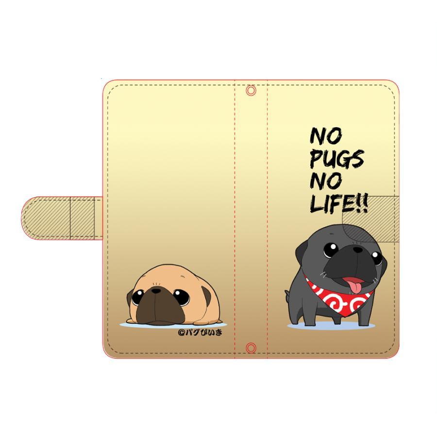 iphoneケース スタンドにもなる片面手帳型 かわいいパグ(フォーン&黒パグ)(ぱぐ グッズ)|pugbiiki|02