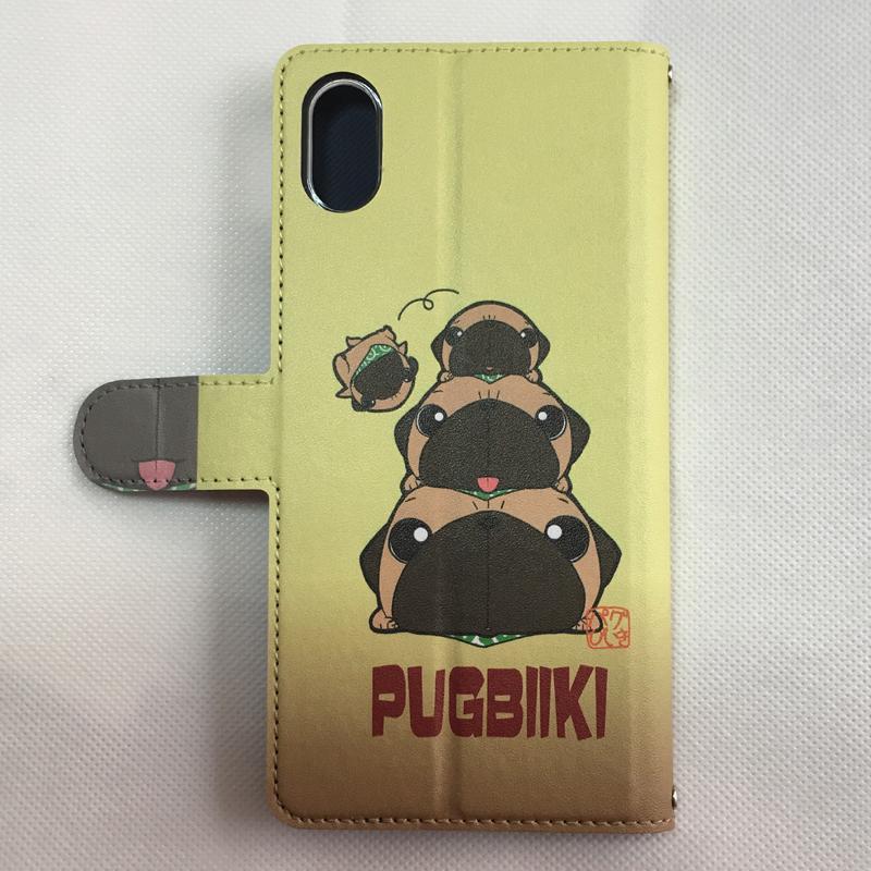 iphoneケース スタンドにもなる片面手帳型 かわいいパグ(フォーン&黒パグ)(ぱぐ グッズ)|pugbiiki|11
