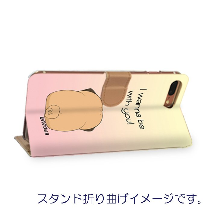 iphoneケース スタンドにもなる片面手帳型 かわいいパグ(フォーン&黒パグ)(ぱぐ グッズ)|pugbiiki|03