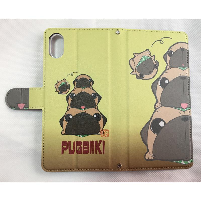iphoneケース スタンドにもなる片面手帳型 かわいいパグ(フォーン&黒パグ)(ぱぐ グッズ)|pugbiiki|09