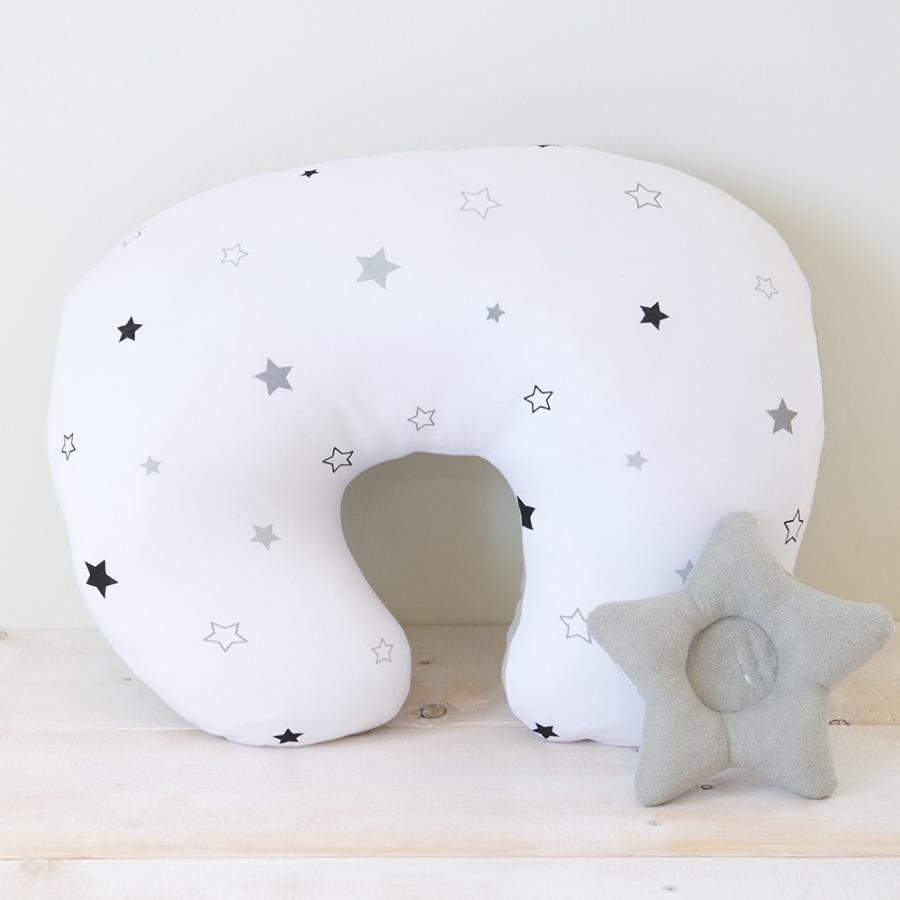 洗える 授乳クッション&サポート枕 トゥインクルスター 星柄 授乳 母乳 クッション 抱き枕 パパママクッション 腕枕 うでまくら|puppapupo|02