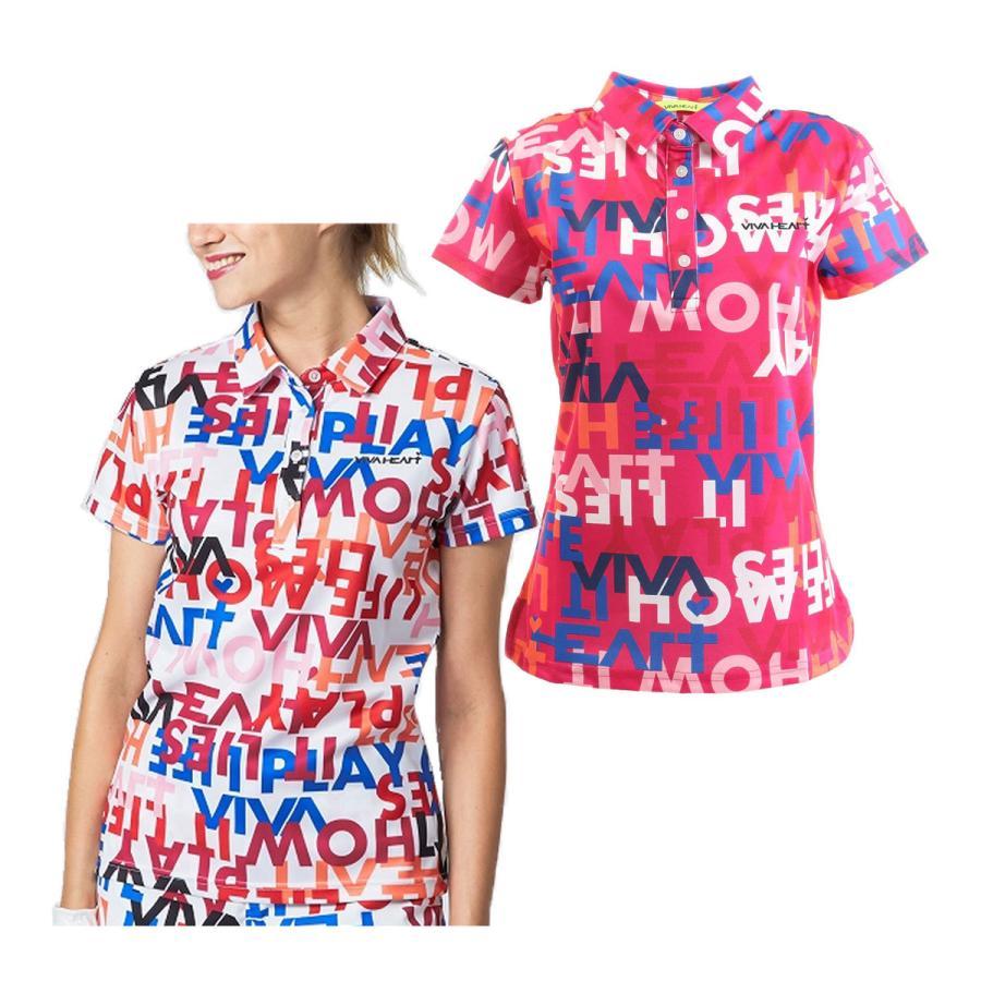 超激得SALE ビバハート 高い素材 ロゴ スローガンプリント 鹿の子 半袖 スポーツウェア レディース ポロシャツ 012-23843