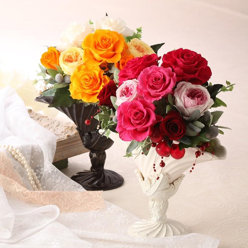 プリザーブドフラワー ギフト 誕生日 結婚 新築 引越し 送別 退職 開店 開業 母の日 送料無料 ロマーヌ purizasenka 05