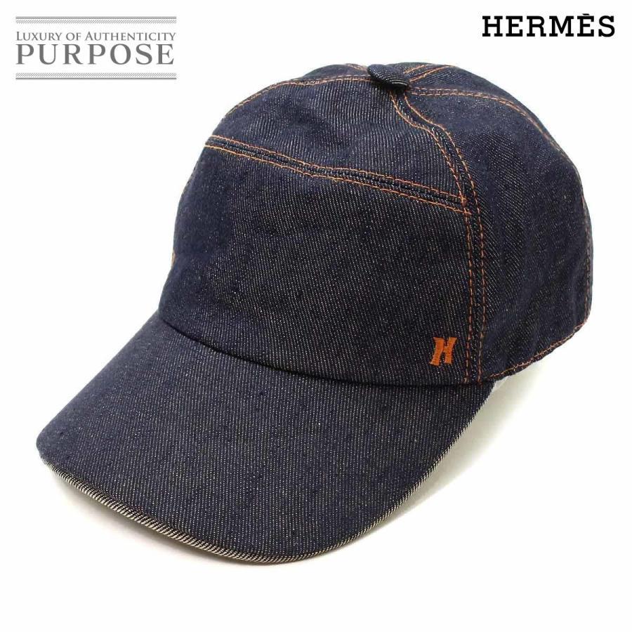 最新デザインの エルメス HERMES デニム ジャンプ キャップ 帽子 キャンバス インディゴ 56, ふぁんくる f411cfc6
