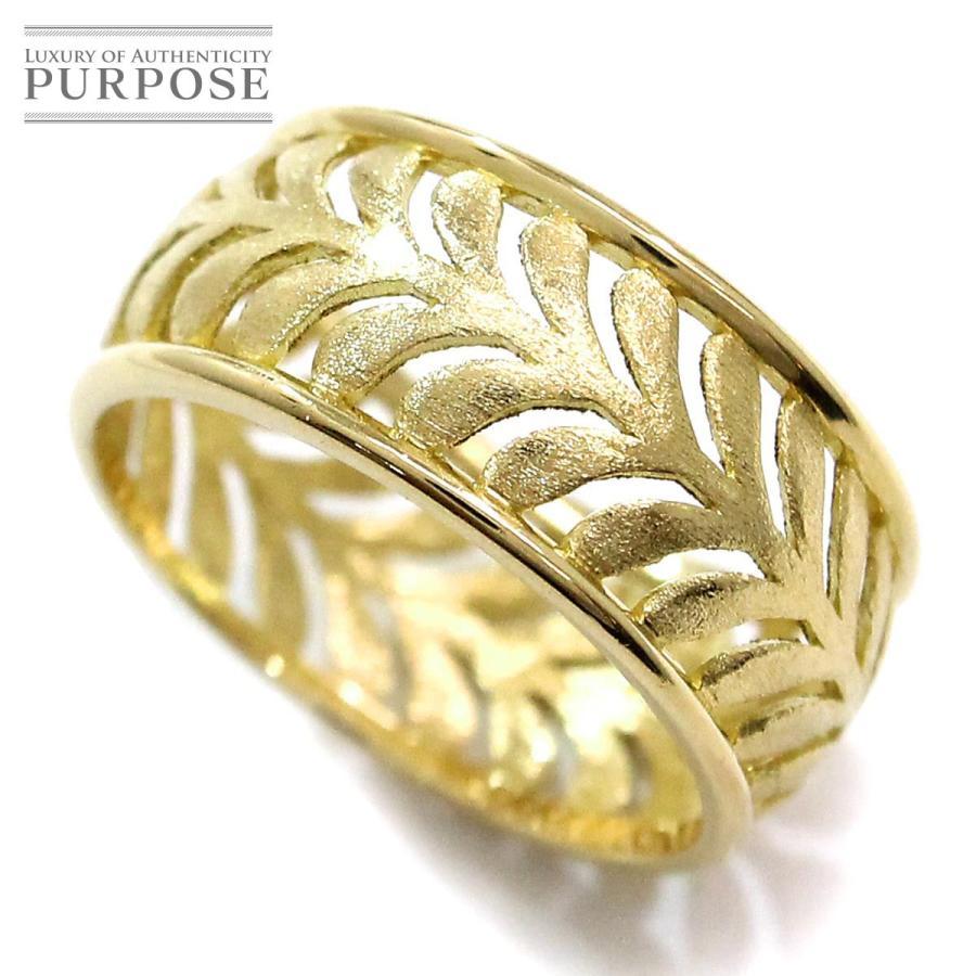 【使い勝手の良い】 ティファニー TIFFANY&Co. デザイン リング 14号 K18YG 18金イエローゴールド 750 フェザー 指輪, ぐるぐる王国DS 5d614a04