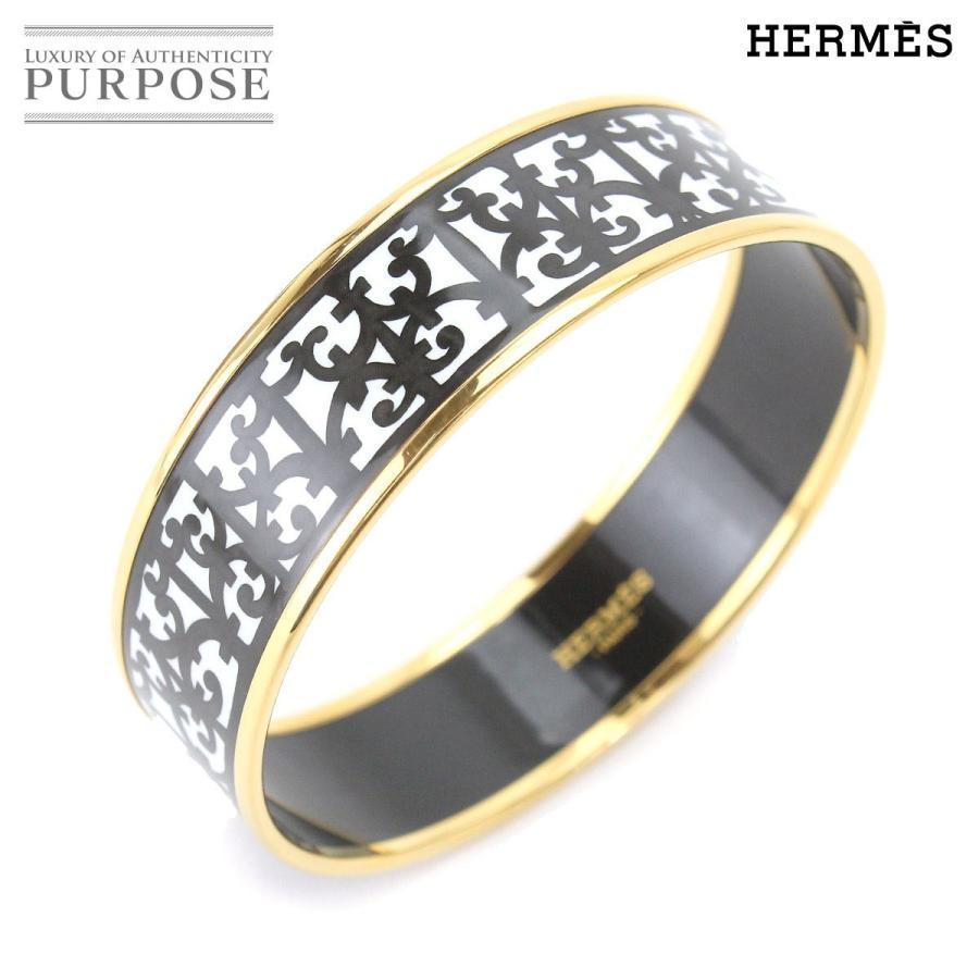 大きな割引 未使用 展示品 エルメス HERMES エマイユ GM バングル ブレスレット 七宝焼き ブラック ホワイト, アサミナミク de6b18e0