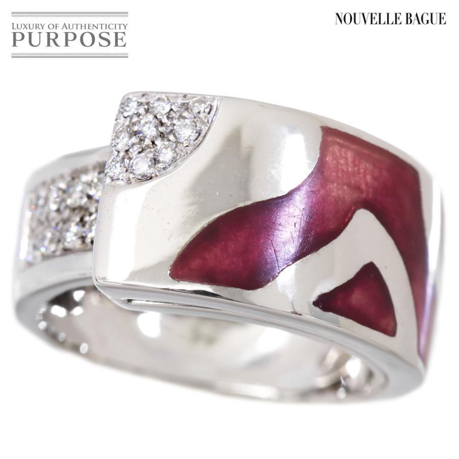 本物保証!  ラ ヌーベルバーグ ダイヤ エマイユ リング K18WG 16号 エナメル 18金 指輪 la NOUVELLE BAGUE, ポンコタンオンライン f6d68e20