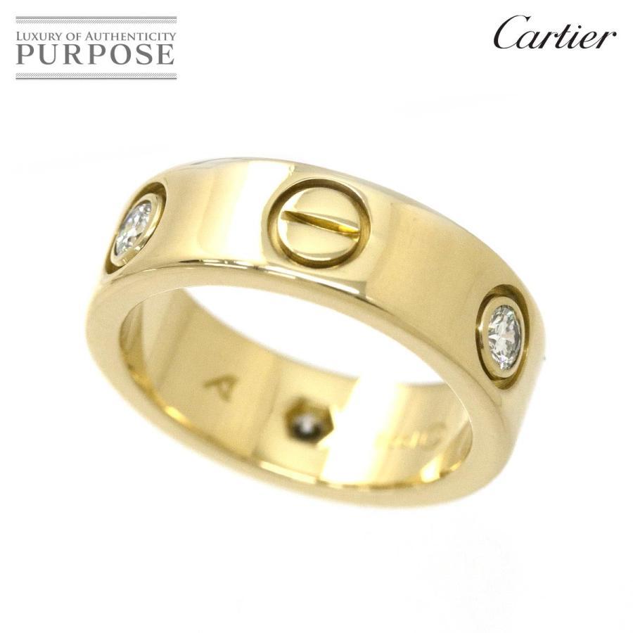 【新品、本物、当店在庫だから安心】 カルティエ ラブ ハーフ ダイヤ 3P リング #46 K18YG 18金イエローゴールド 750 指輪 Cartier, メッシュカワイ 7b6db36a