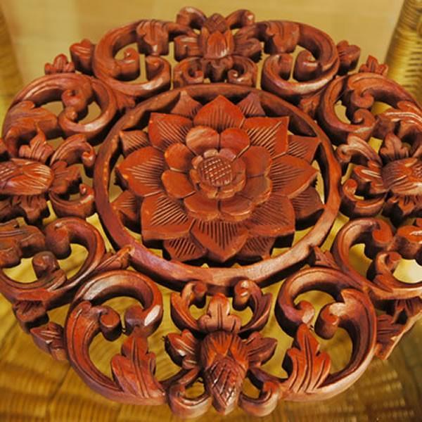 バリ製丸形木彫りのレリーフ (フラワーアイビー)|putihbali|02