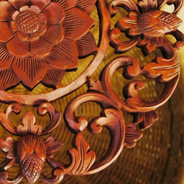 バリ製丸形木彫りのレリーフ (フラワーアイビー)|putihbali|03