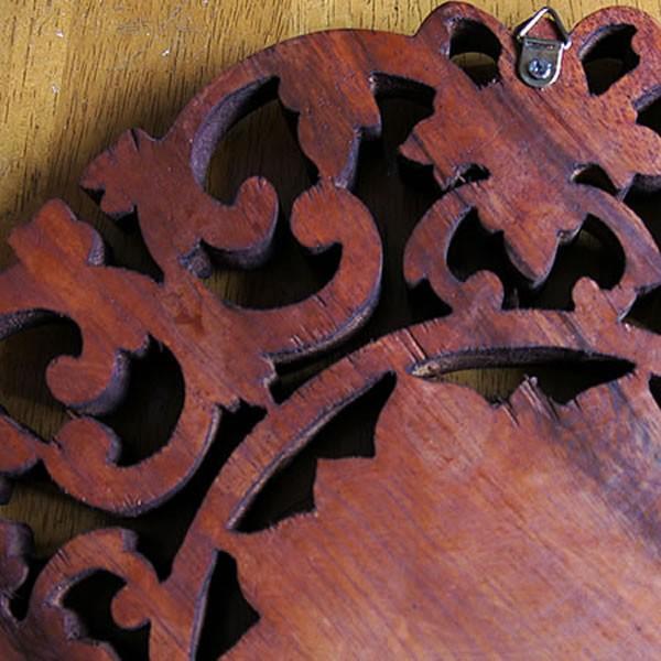 バリ製丸形木彫りのレリーフ (フラワーアイビー)|putihbali|04