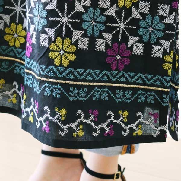 ワンピース  刺繍 前開き 羽織り フォークロア 黒 pwanpwan 02