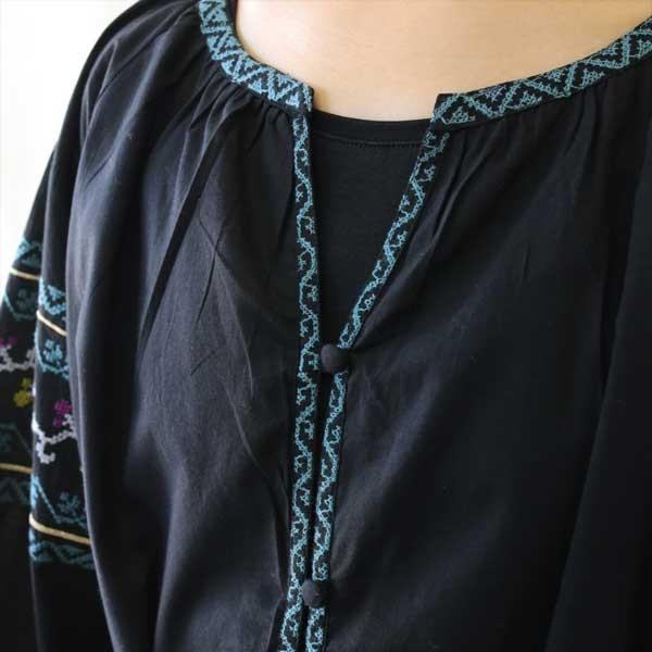 ワンピース  刺繍 前開き 羽織り フォークロア 黒 pwanpwan 06