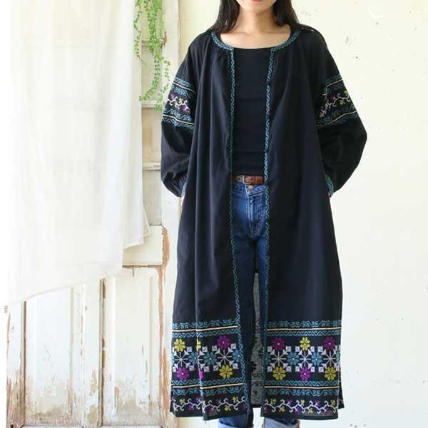 ワンピース  刺繍 前開き 羽織り フォークロア 黒 pwanpwan 09