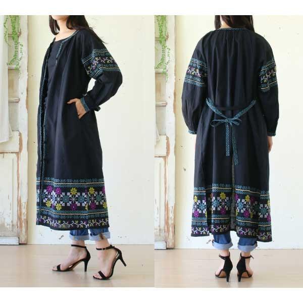 ワンピース  刺繍 前開き 羽織り フォークロア 黒 pwanpwan 10