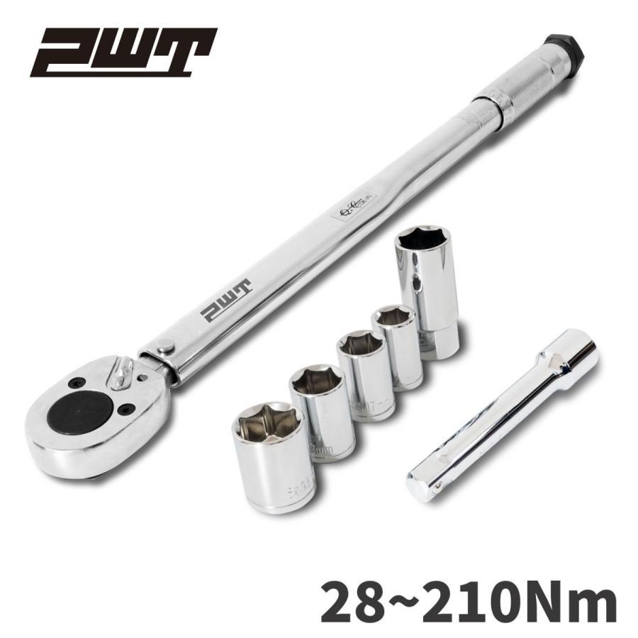 PWT 1/2インチ(12.7mm)  トルクレンチセット 28~210Nm タイヤ交換 14/17/19/24mmソケット・21mmプラグソケット・エクステンションバー付属 TW28210ESET pwt