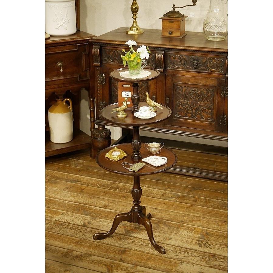 英国イギリスアンティーク家具 ビクトリアン ビクトリアン ダムウエイターDumb Waiter 3段テーブル 8081