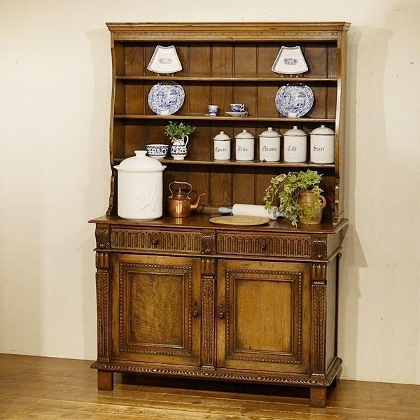 送料無料★英国アンティーク家具 ドレッサー 皿立て 飾り棚 本棚 食器棚 オーク材総無垢 9397W