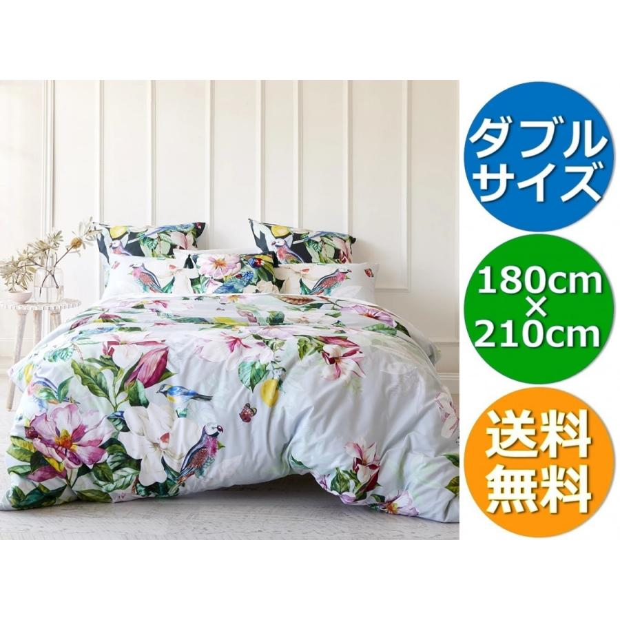 MyHouse 大人気!トロピカル柄♪色鮮やかなフローラル掛布団カバーセット ダブル(180 x 210 cm)