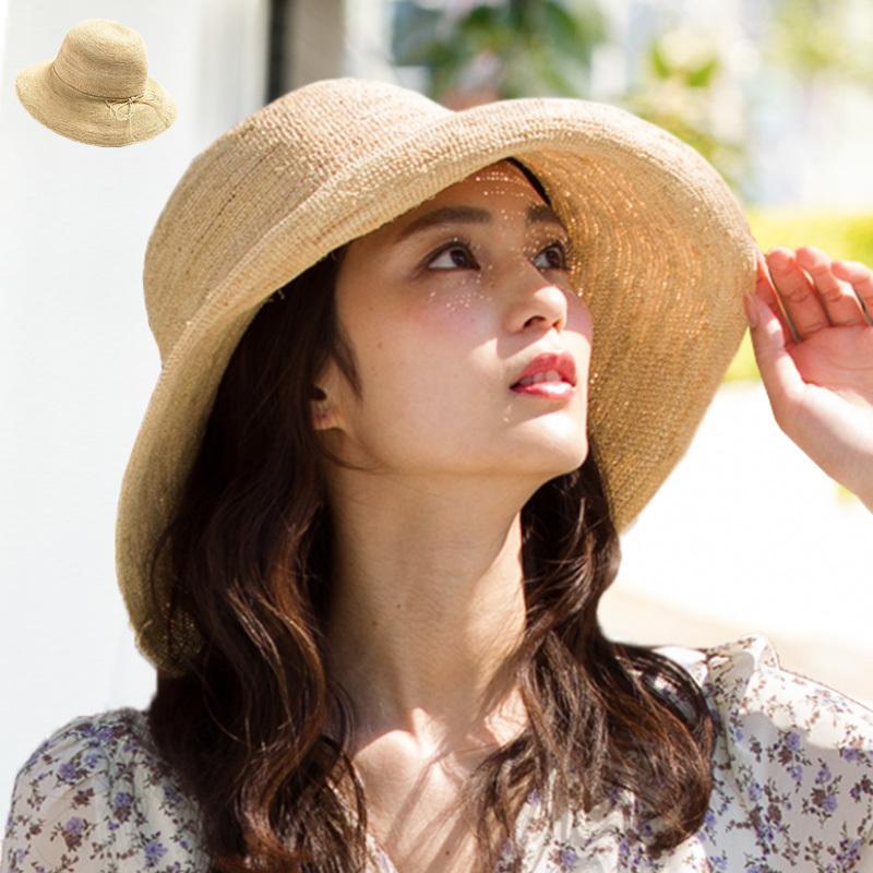 59f2df432d2fa5 細編みラフィア100%HAT 帽子 レディース 夏 夏用 つば広 UV 麦わら 折りたたみ ...