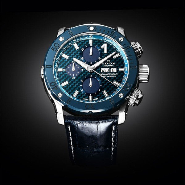 EDOX エドックス クロノオフショア1 クロノグラフオートマチック メンズ腕時計 送料無料 01122-3BU3-BUIN3-L   quelleheure-1