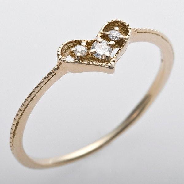 【半額】 K10イエローゴールド 天然ダイヤリング 指輪 ピンキーリング ダイヤモンドリング 0.03ct 1.5号 アンティーク調 プリンセス ハートモチーフ, 玉村町 e1945989