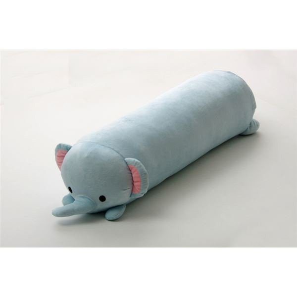 抱きまくら まくら 枕 クッション 動物 象 『ふわもち アニマル 抱き枕 ぞう』 ライトブルー 約20×80cm