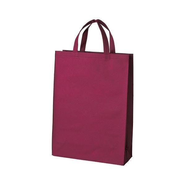 (まとめ)スマートバリュー 不織布手提げバッグ中10枚ワイン B451J-WN〔×5セット〕