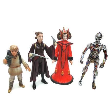 スターウォーズ スカイウォーカー&クィーン・アミダラ&C-3PO フィギュア 4体セット racimall