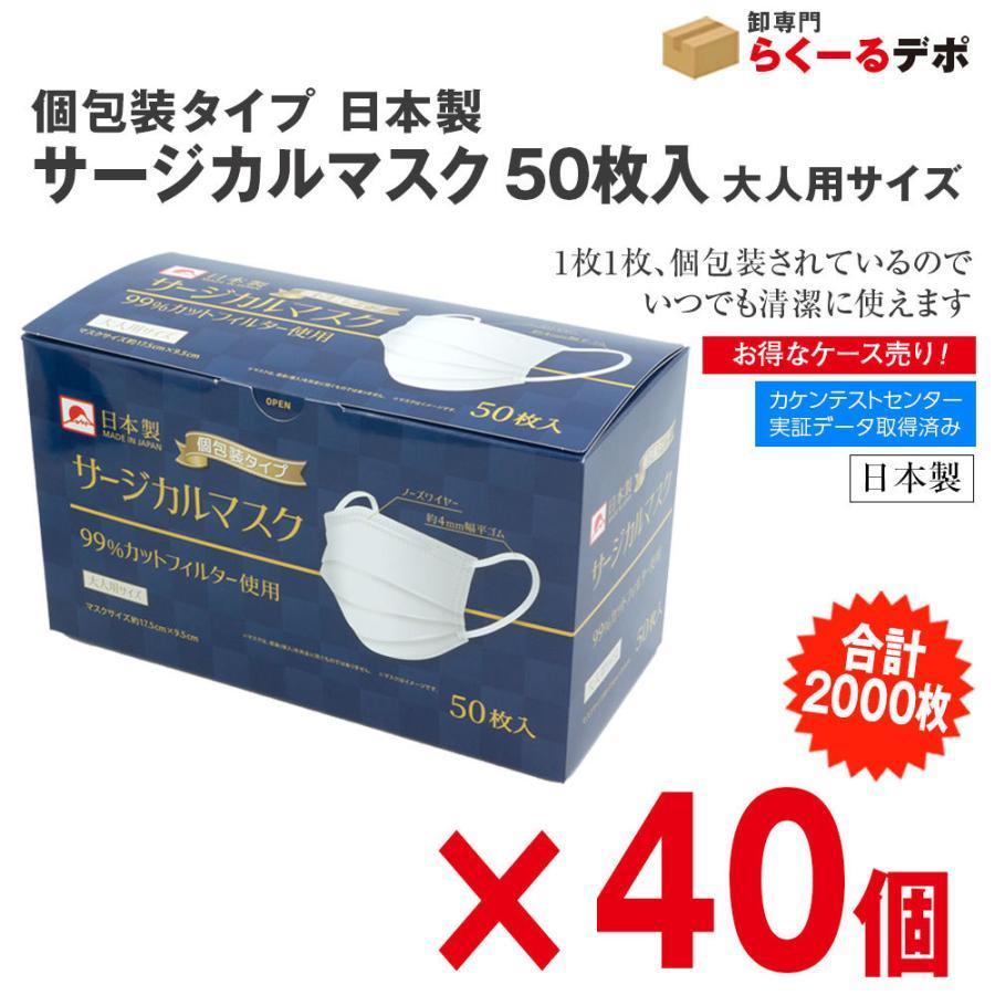 個包装タイプ 日本製 サージカルマスク 大人用 50枚入【条件付き送料無料】