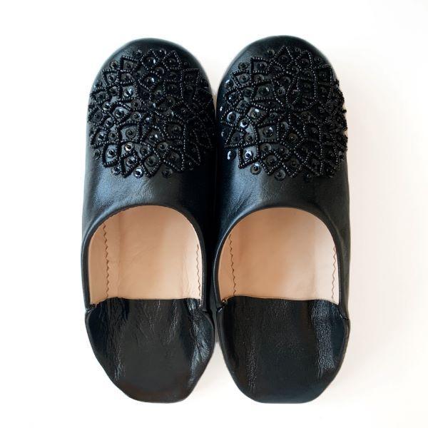 【メール便可】モロッコ スパンコール ビーズ バブーシュB革 室内履き スリッパ ルームシューズ 靴 モロッコ雑貨 女性 手作り 刺繍 ホワイト ブラッ|raha|03