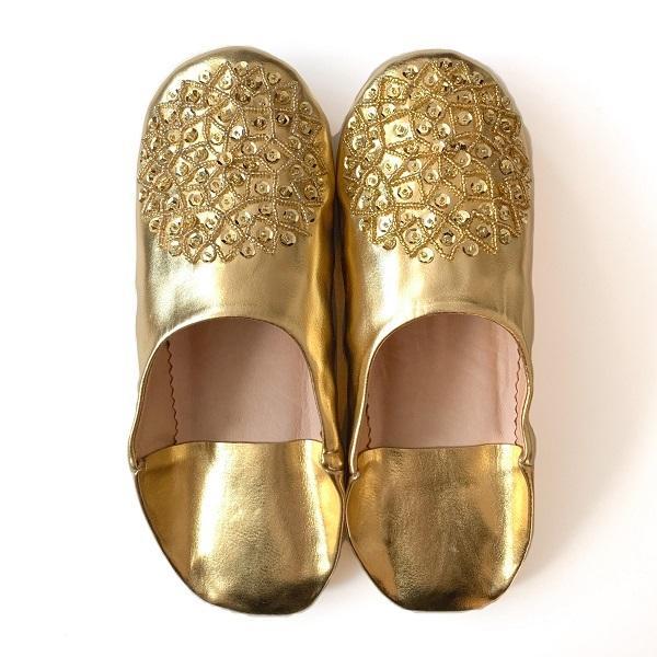 【メール便可】モロッコ スパンコール ビーズ バブーシュB革 室内履き スリッパ ルームシューズ 靴 モロッコ雑貨 女性 手作り 刺繍 ホワイト ブラッ|raha|06