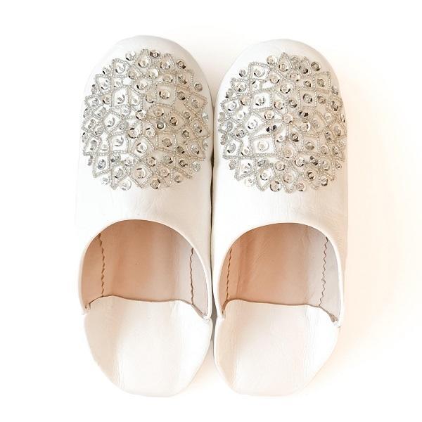 【メール便可】モロッコ スパンコール ビーズ バブーシュB革 室内履き スリッパ ルームシューズ 靴 モロッコ雑貨 女性 手作り 刺繍 ホワイト ブラッ|raha|07