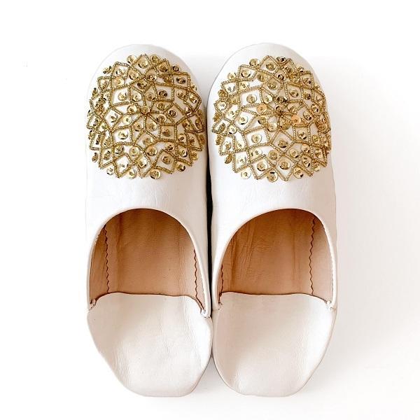 【メール便可】モロッコ スパンコール ビーズ バブーシュB革 室内履き スリッパ ルームシューズ 靴 モロッコ雑貨 女性 手作り 刺繍 ホワイト ブラッ|raha|08