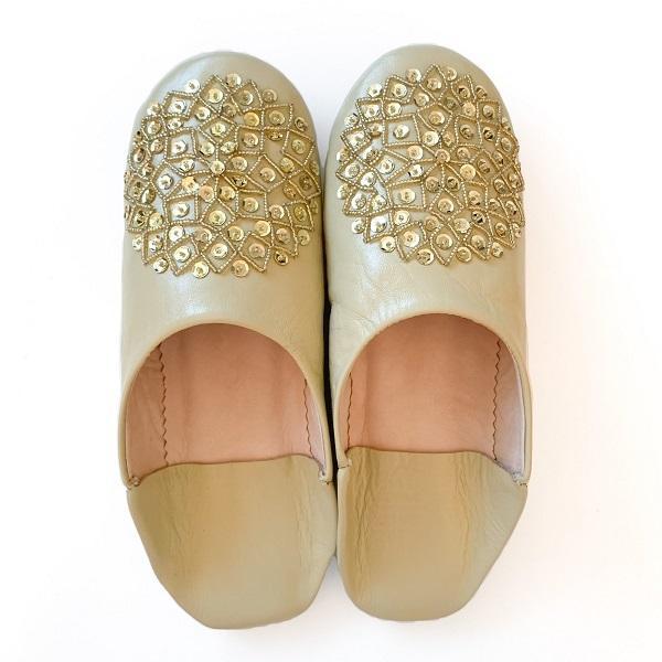 【メール便可】モロッコ スパンコール ビーズ バブーシュB革 室内履き スリッパ ルームシューズ 靴 モロッコ雑貨 女性 手作り 刺繍 ホワイト ブラッ|raha|09