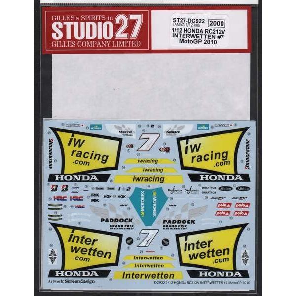 スタジオ27 DC922 1/12 ホンダ RC212V INTERWETTEN #7 モトGP 2010(タミヤ対応)|rainbowten|02