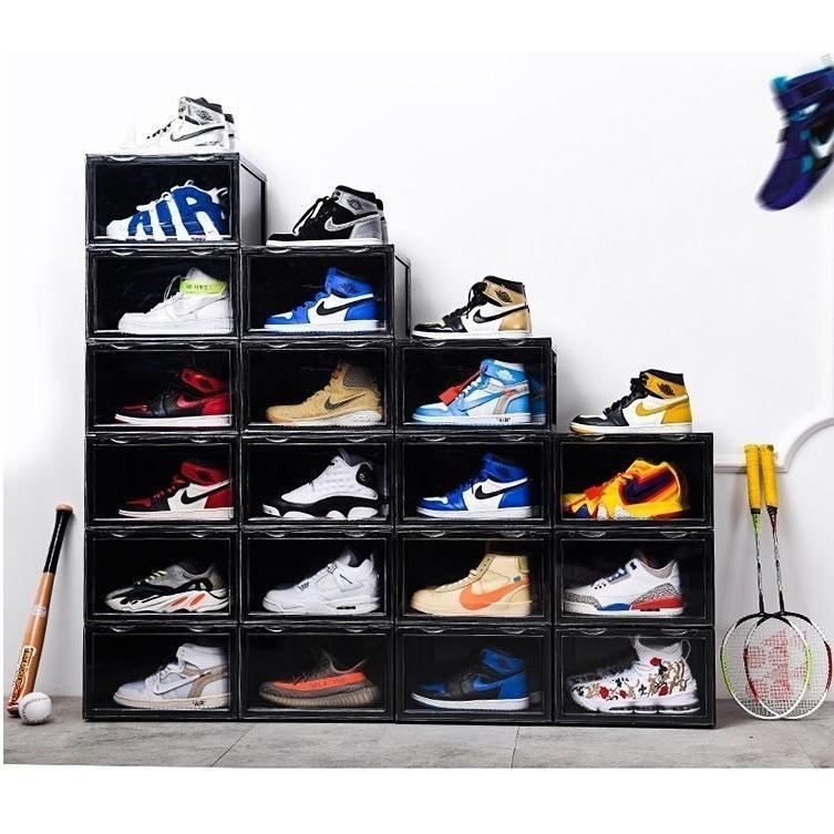 Sneaker Box スニーカーボックス SHOES BOX 横開き シューズ ボックス 靴箱 ブラック、クリアケース 6個1セット raki-store