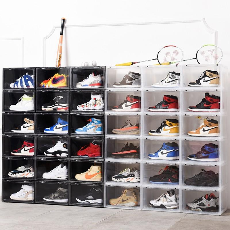 Sneaker Box スニーカーボックス SHOES BOX 横開き シューズ ボックス 靴箱 ブラック、クリアケース 6個1セット raki-store 02