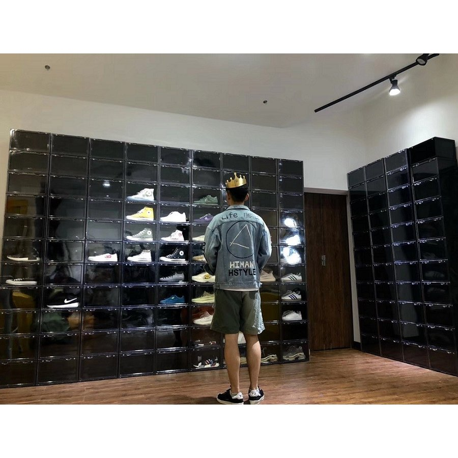 Sneaker Box スニーカーボックス SHOES BOX 横開き シューズ ボックス 靴箱 ブラック、クリアケース 6個1セット raki-store 11