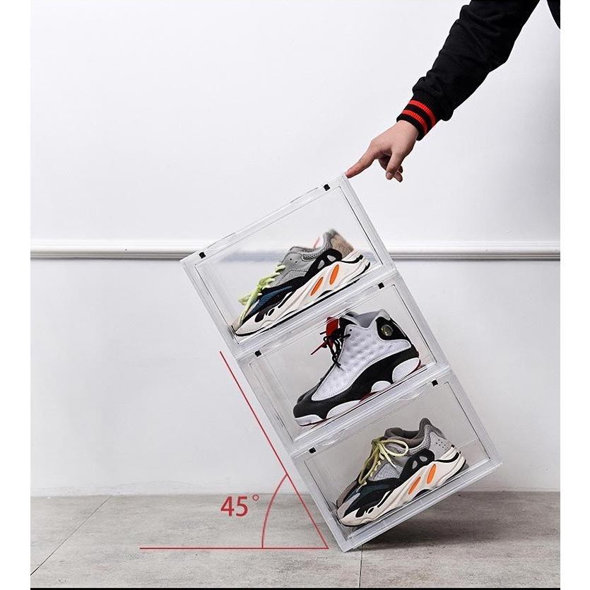 Sneaker Box スニーカーボックス SHOES BOX 横開き シューズ ボックス 靴箱 ブラック、クリアケース 6個1セット raki-store 04