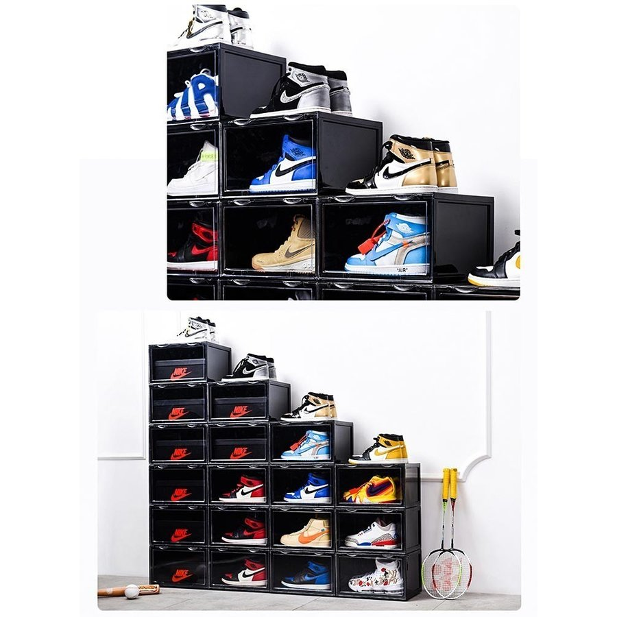 Sneaker Box スニーカーボックス SHOES BOX 横開き シューズ ボックス 靴箱 ブラック、クリアケース 6個1セット raki-store 09