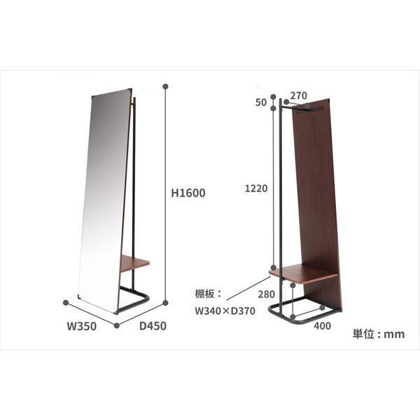 鏡 ミラー インテリアミラー スタンドミラー 姿見 ウォールミラー 壁掛け鏡 ハンガーラック ルームミラー 幅35cm 高160cm|rakusouya|20