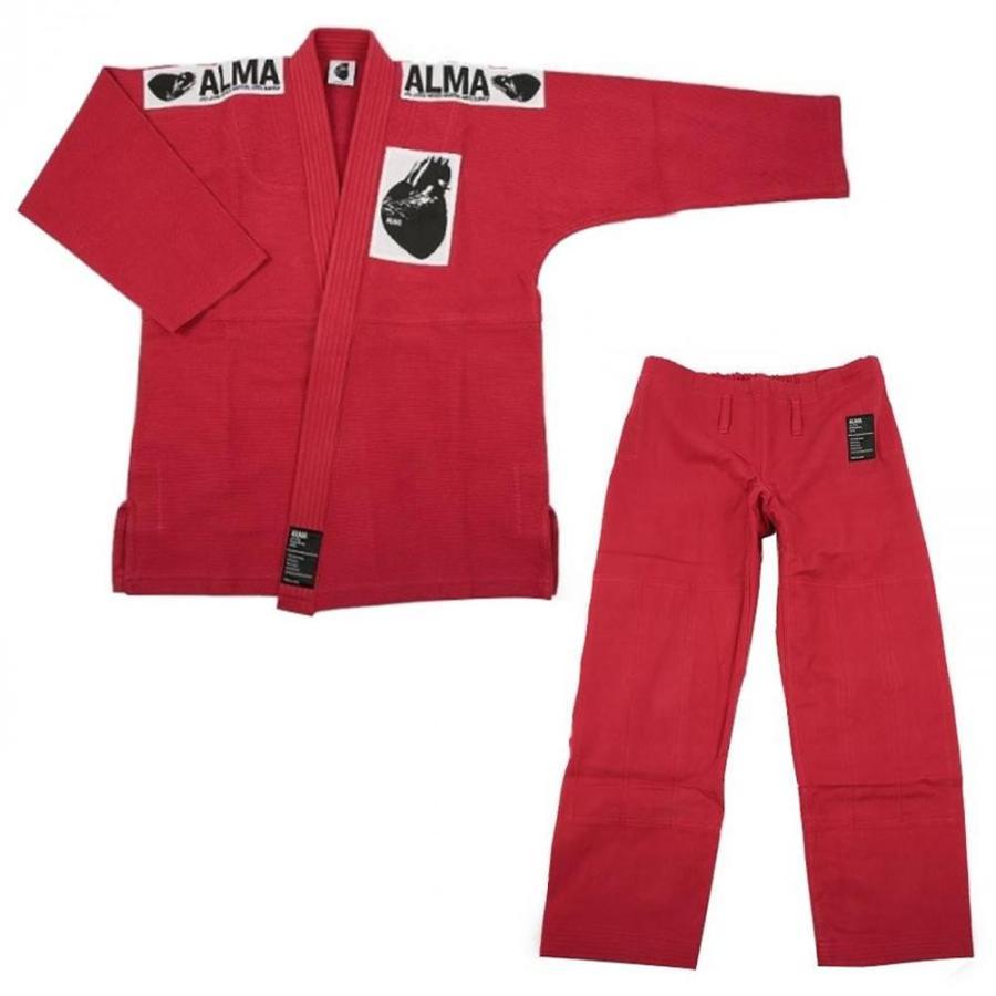 基本送料499円!ALMA アルマ レギュラーキモノ 国産柔術衣 M00 赤 上下 JU1-M00-RD