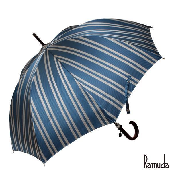 レジメンタルストライプ ブルー RAMUDA 65樫棒濃茶塗り メンズ大きいサイズ甲州織【送料無料】名入れ 可父の日 ギフト|ramuda