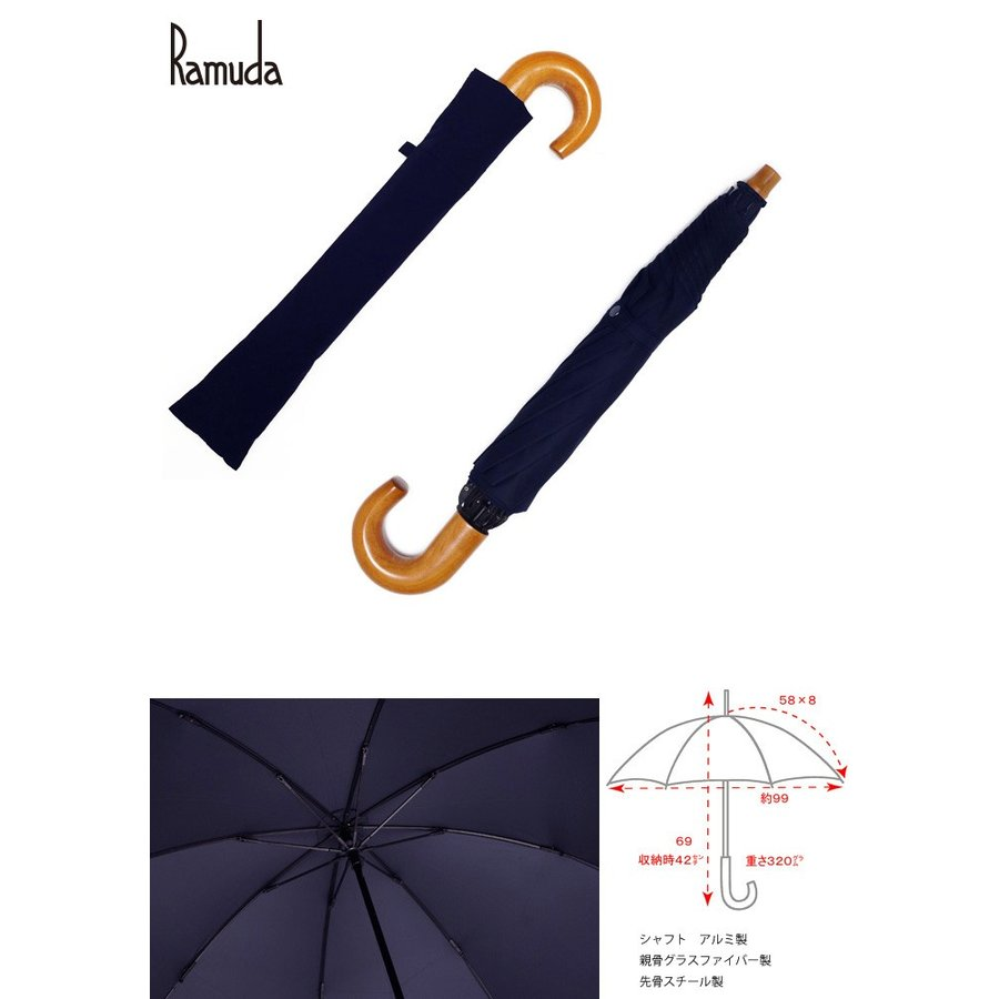 【送料無料】 2段折り畳み58×8タフレックス無地(ネイビー)【313101】折りたたみ傘|ramuda|02