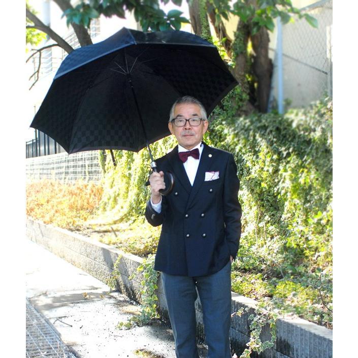 日本製【送料無料】ドレッシーなコーデ傘ジャガード市松柄〈ネイビー)【612405n】雨具/レイングッズ/かさ/カサ/携帯/メンズ/レディース/男女兼用|ramuda|04