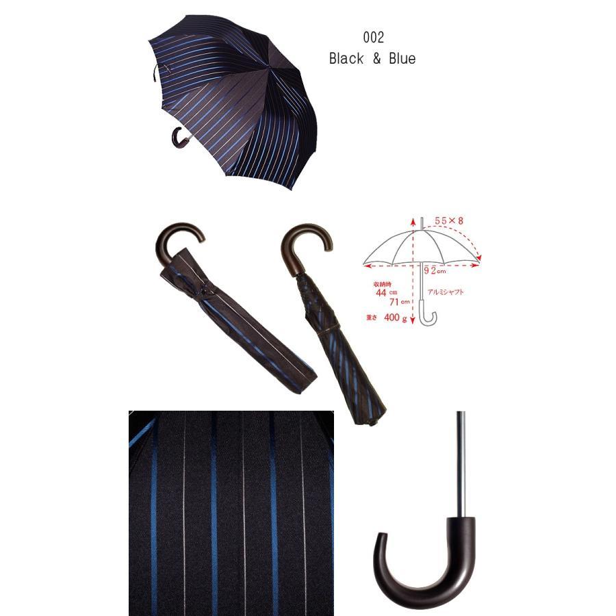 【送料無料】55×8 Mini topless umbrella チョークストライプ  トップレス式2段式おりたたみ傘ニッケルスチール骨 折たたみ傘|ramuda|03